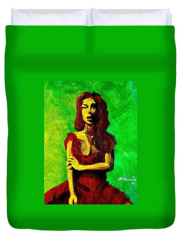 Expressionist Duvet Cover featuring the painting Scarlet by Jason Reinhardt