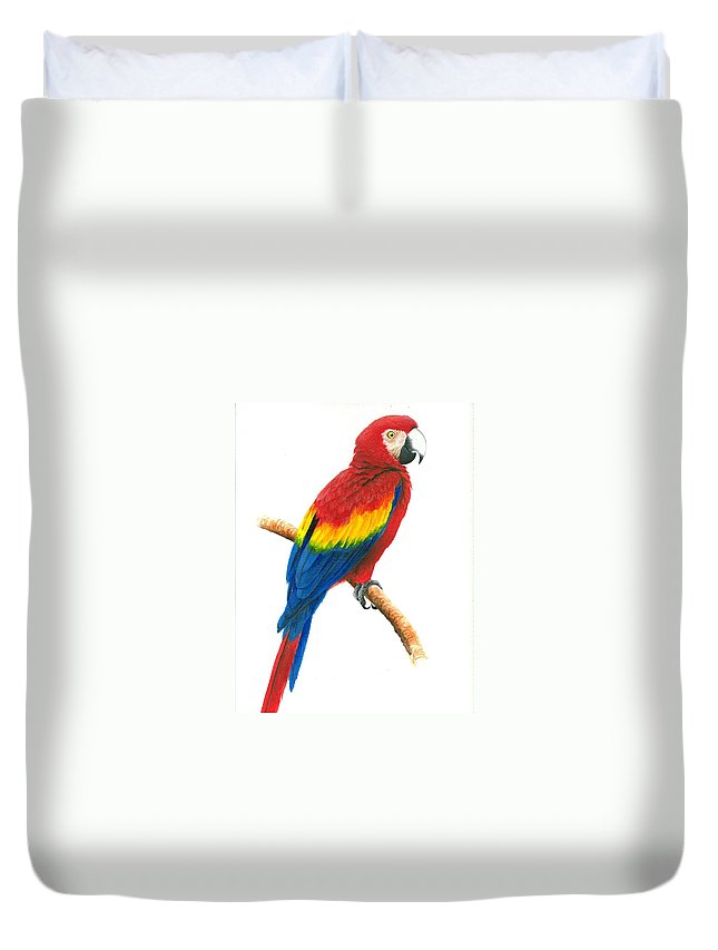 Chris Cox Duvet Cover featuring the painting Scarlet Macaw by Christopher Cox