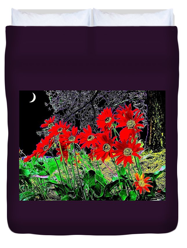 Abstract Duvet Cover featuring the digital art Scarlet Night by Will Borden