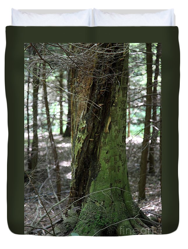 Tree Duvet Cover featuring the photograph Scarred by Amanda Barcon