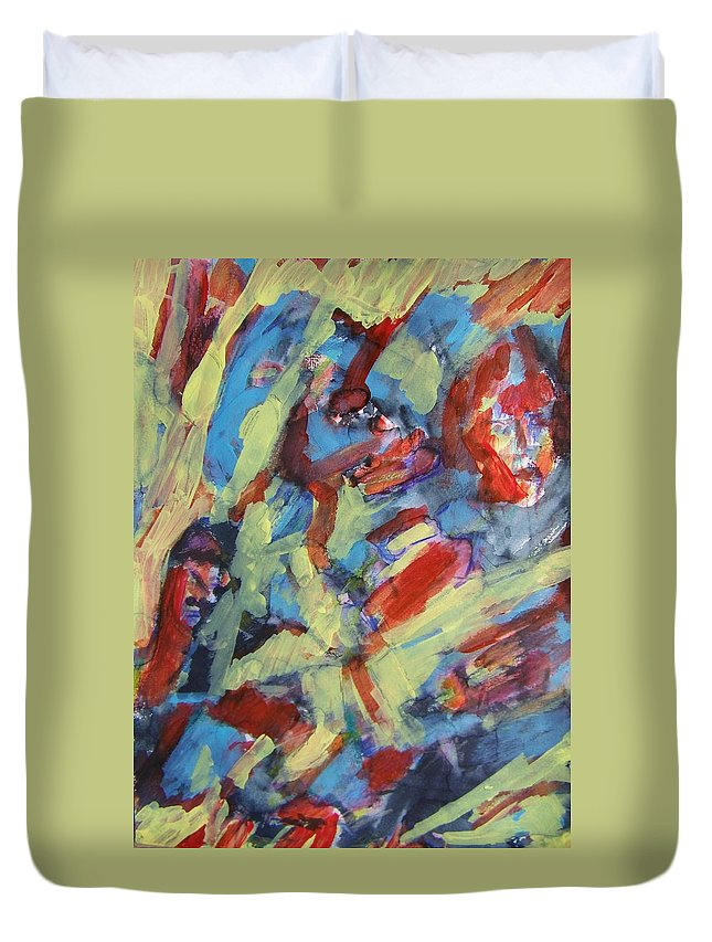 Abstract Duvet Cover featuring the painting Scary Movie--scary World by Judith Redman