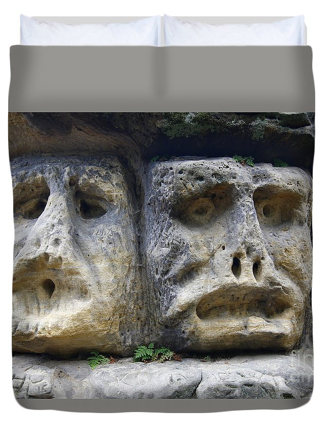 Rock Duvet Cover featuring the photograph Scary Stone Heads by Michal Boubin