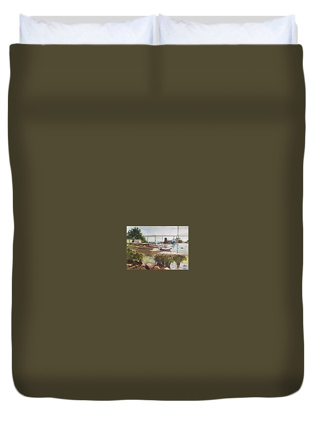 Scene Beside The Water Duvet Cover featuring the painting Scene Beside Inlet by Ken Bao--Fine Art Spring