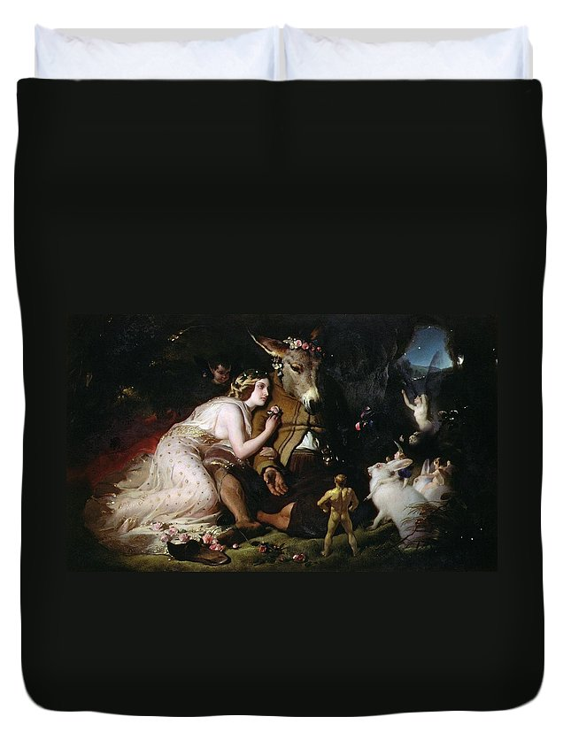 Scene From A Midsummer Night's Dream. Titania And Bottom Duvet Cover featuring the painting Scene From A Midsummer Night's Dream by Sir Edwin Landseer