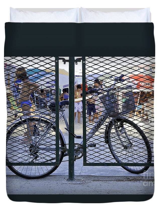Bicycle Duvet Cover featuring the photograph Scene Through The Gate by Madeline Ellis