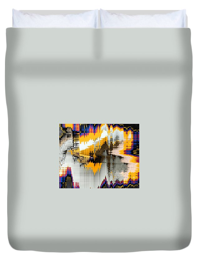Abstract Duvet Cover featuring the digital art Scenes At The Lake by Lenore Senior