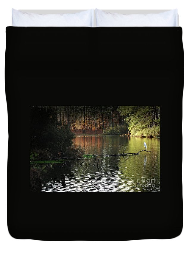 Nature Duvet Cover featuring the photograph Scenic Elder Lake by Kim Henderson