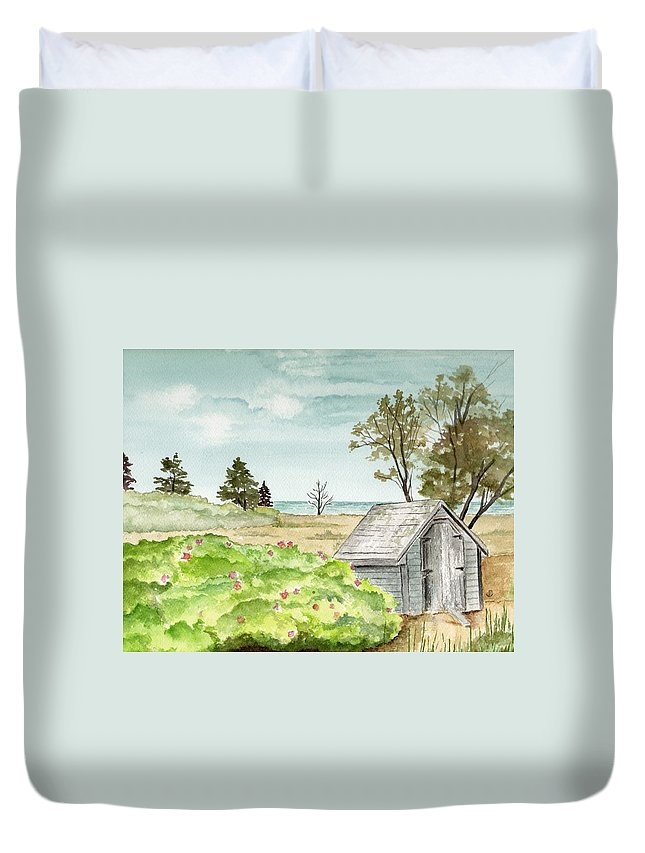 Landscape Watercolor Scenery Scenic Trees Roses Shed Building Art Painting Maine Duvet Cover featuring the painting Scenic Maine  by Brenda Owen