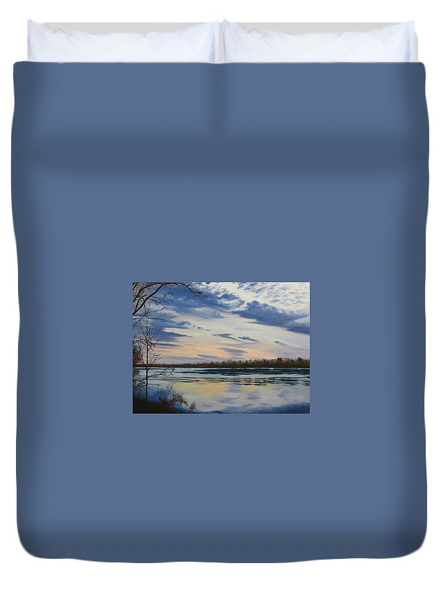 Clouds Duvet Cover featuring the painting Scenic Overlook - Delaware River by Lea Novak