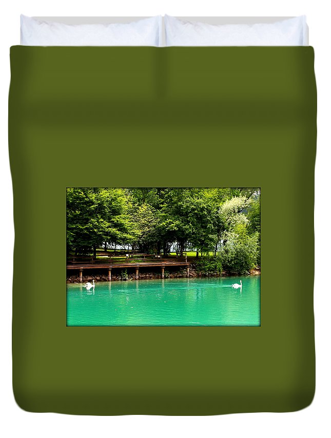 Swans Duvet Cover featuring the photograph Scenic Swans by Lynn Griffin
