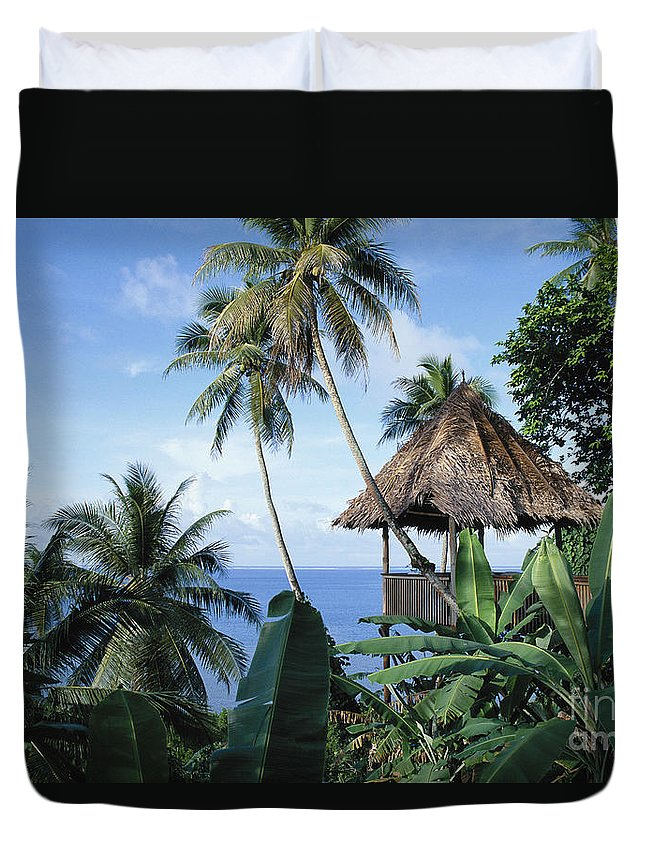 Afternoon Duvet Cover featuring the photograph Scenic Thatched Hut by Greg Vaughn - Printscapes