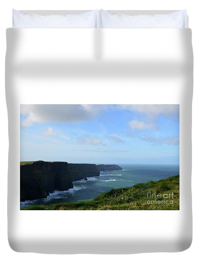 Cliffs-of-moher Duvet Cover featuring the photograph Scenic Views Of Ireland's Cliff's Of Moher In County Clare by DejaVu Designs
