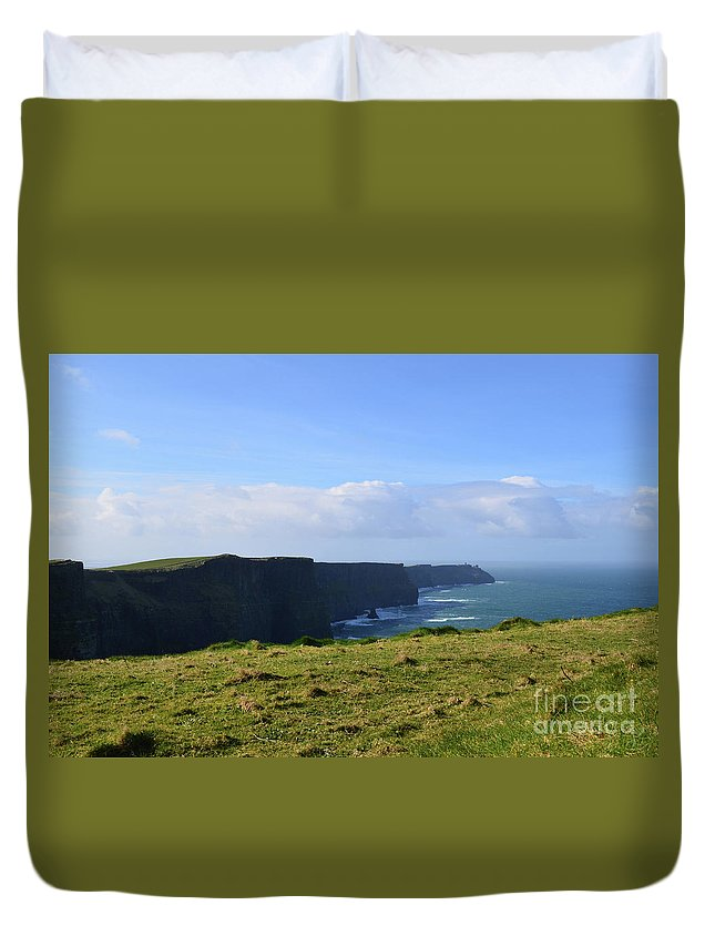 Cliffs-of-moher Duvet Cover featuring the photograph Scenic Views Of The Cliff's Of Moher In Ireland by DejaVu Designs