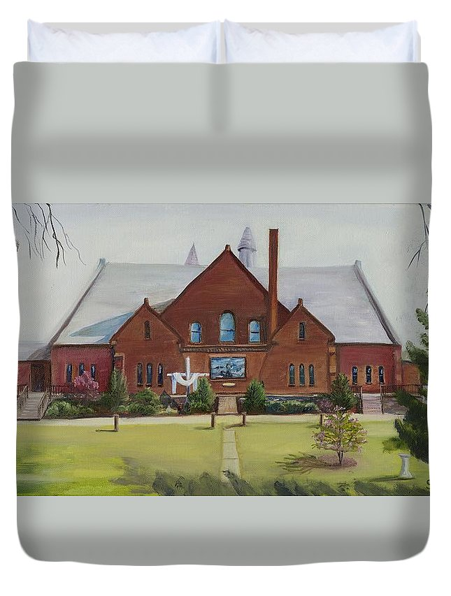 Church Duvet Cover featuring the painting Schaeffer Center Ally View Frederick Md by Gloria Condon