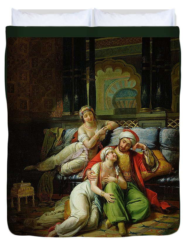 Scheherazade Duvet Cover featuring the painting Scheherazade by Paul Emile Detouche