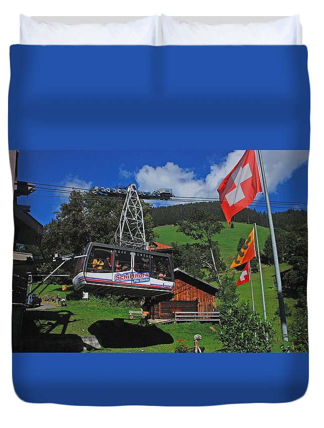 Schilthorn Duvet Cover featuring the photograph Schilthorn Cable Car Murren by Chris Pickett