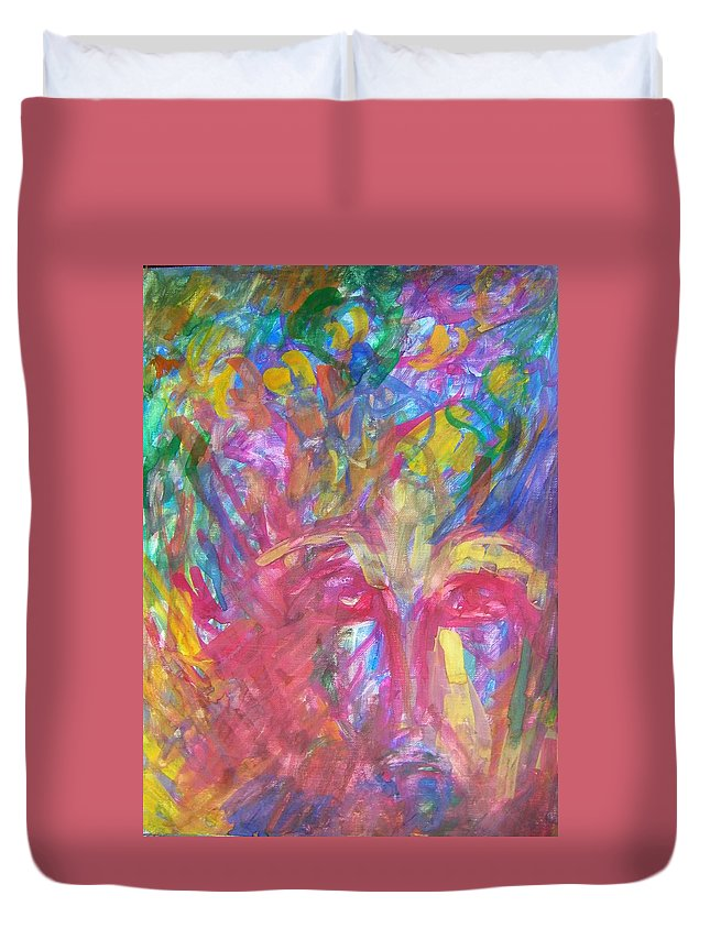 Abstract Duvet Cover featuring the painting Schizophrenia by Judith Redman