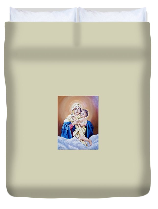 Religious Duvet Cover featuring the painting Schoenstat-tribute by Natalia Tejera