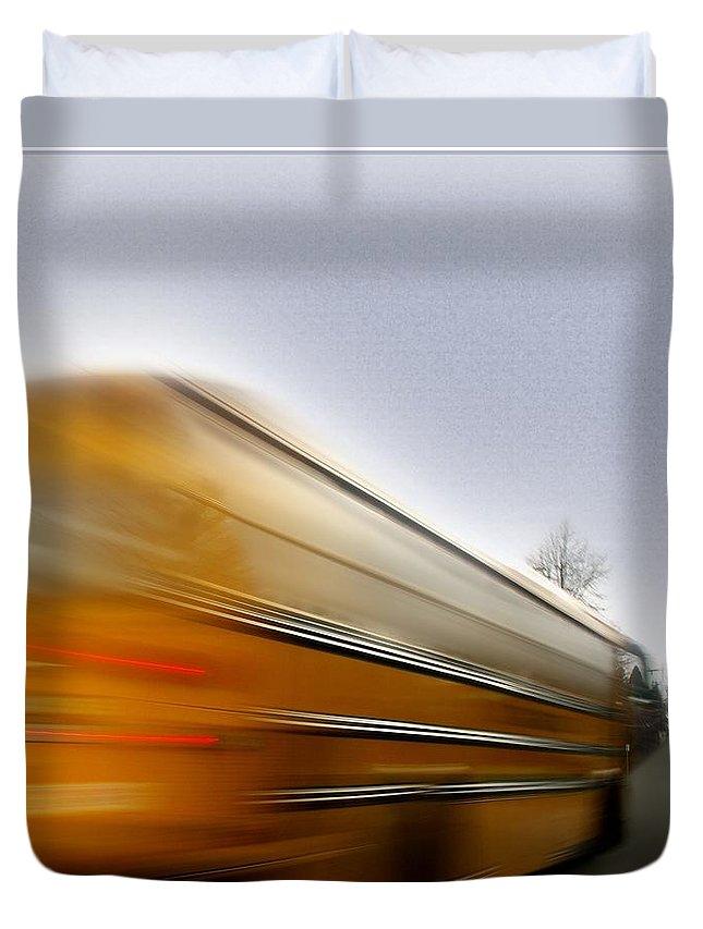 School Duvet Cover featuring the photograph School Bus by Gerry Tetz