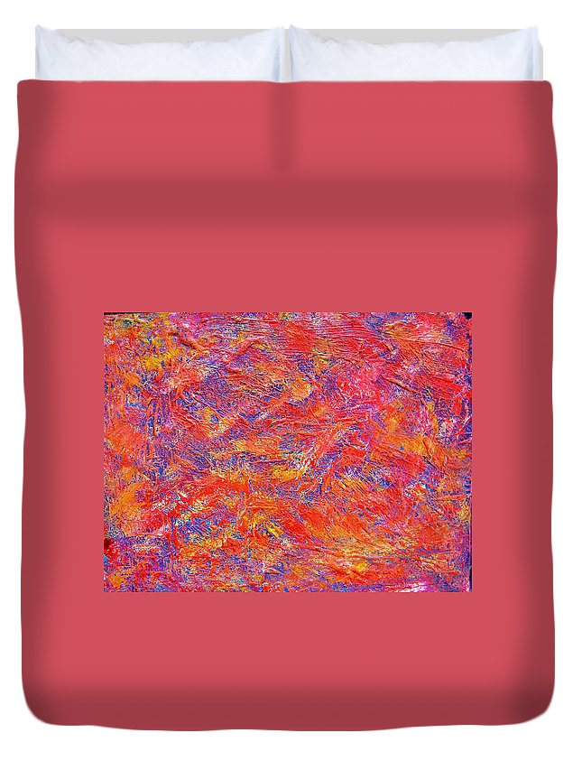 Abstract Duvet Cover featuring the painting School Shootings by Judith Redman