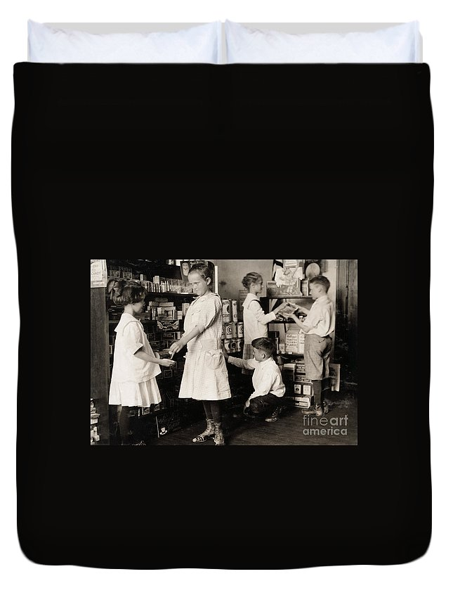 1917 Duvet Cover featuring the photograph School Store, 1917 by Granger