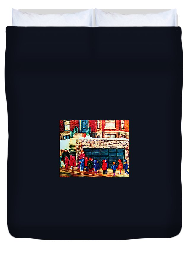 Montreal Streetscenes Duvet Cover featuring the painting Schools Out by Carole Spandau