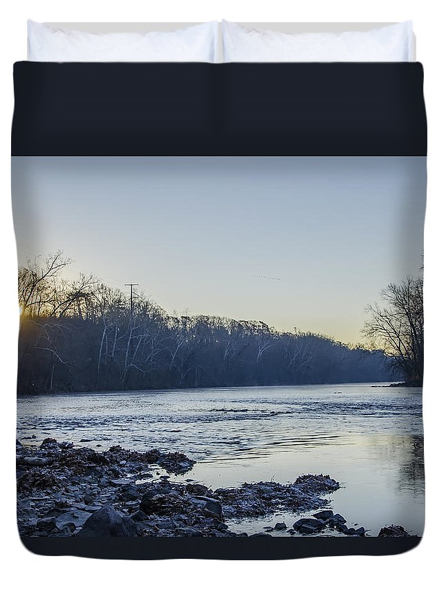 Schuylkill Duvet Cover featuring the photograph Schuylkill River Sunrise Linfield Pa by Bill Cannon