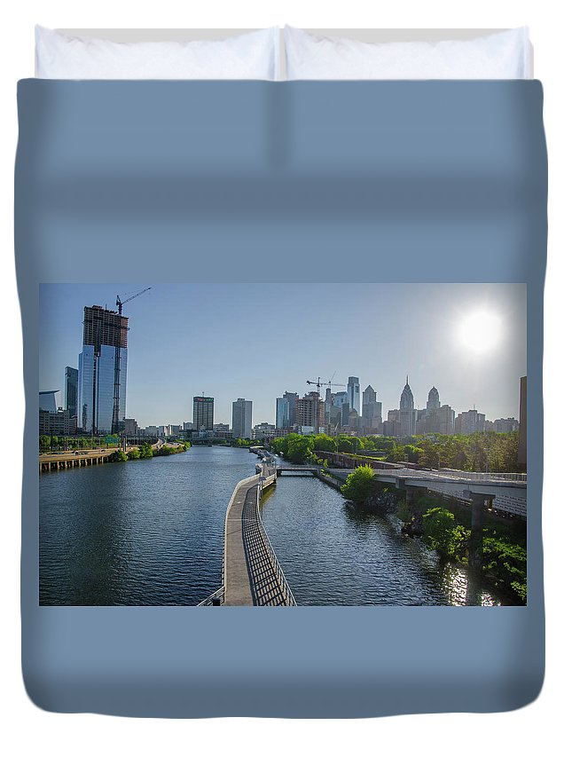 Schuylkill Duvet Cover featuring the photograph schuylkill River Walk from South Street Bridge by Bill Cannon