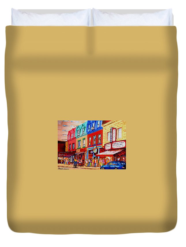 Cityscape Duvet Cover featuring the painting Schwartz Lineup With Simcha by Carole Spandau