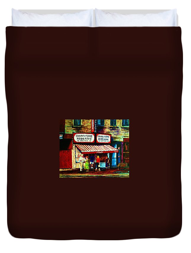 Schwartz Deli Duvet Cover featuring the painting Schwartzs Famous Smoked Meat by Carole Spandau