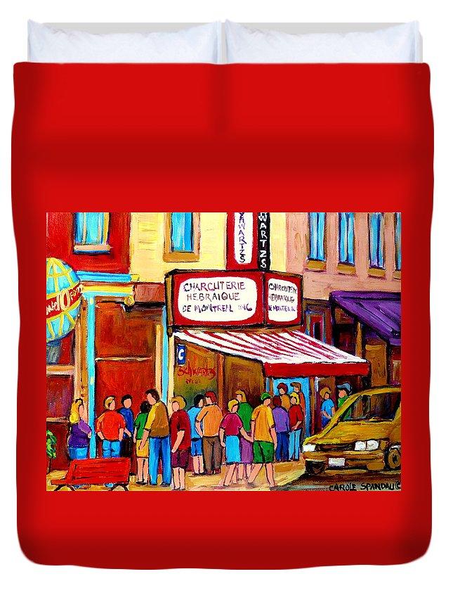 Schwartzs Deli Duvet Cover featuring the painting Schwartzs Hebrew Deli Montreal Streetscene by Carole Spandau