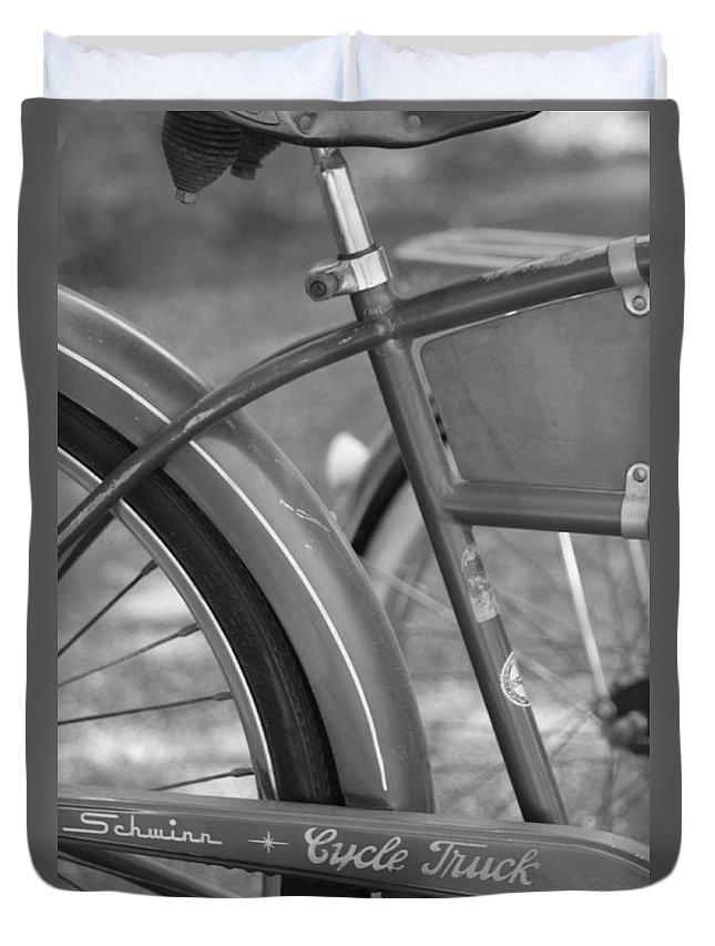 Schwinn Duvet Cover featuring the photograph Schwinn Cycle Truck by Lauri Novak