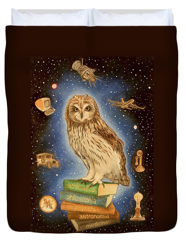 Owl Duvet Cover featuring the drawing Scientia by Nikolai Jonasson
