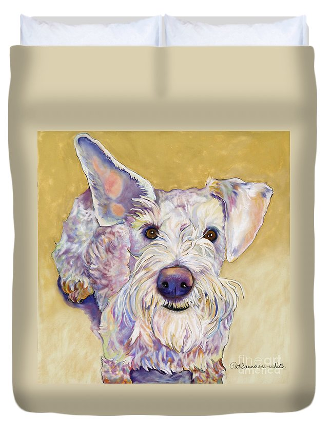 Schnauzer Duvet Cover featuring the pastel Scooter by Pat Saunders-White