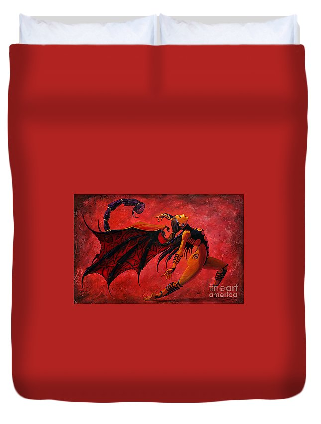 Scorpio Duvet Cover featuring the painting Scorpio by Stanley Morrison
