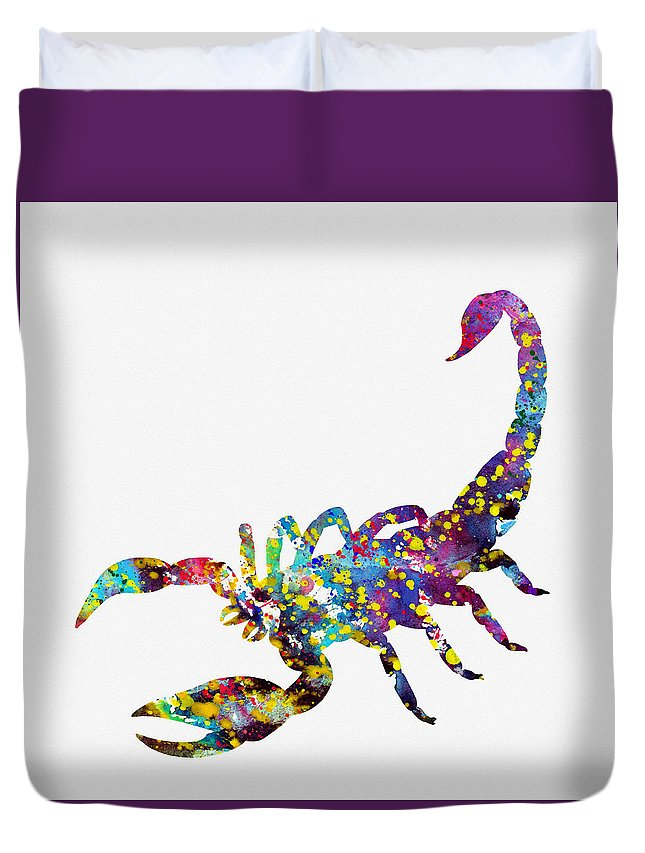 Scorpion Duvet Cover featuring the digital art Scorpion-colorful by Erzebet S
