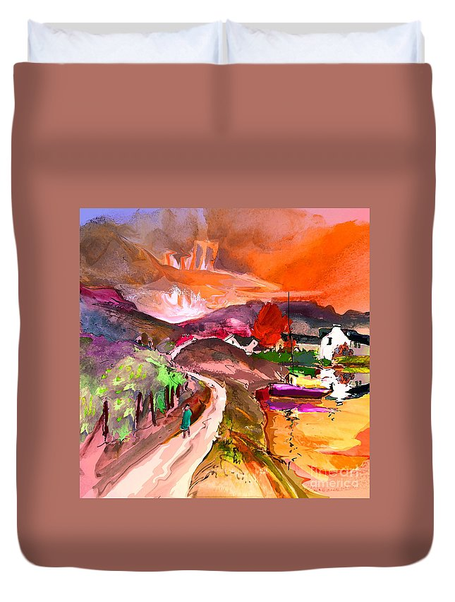 Scotland Paintings Duvet Cover featuring the painting Scotland 02 by Miki De Goodaboom