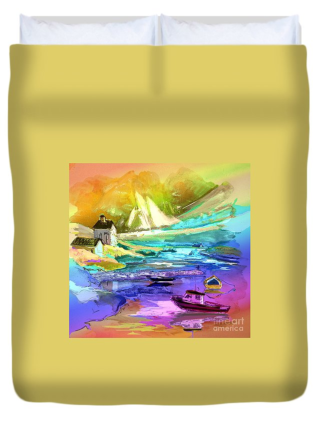 Scotland Paintings Duvet Cover featuring the painting Scotland 15 by Miki De Goodaboom