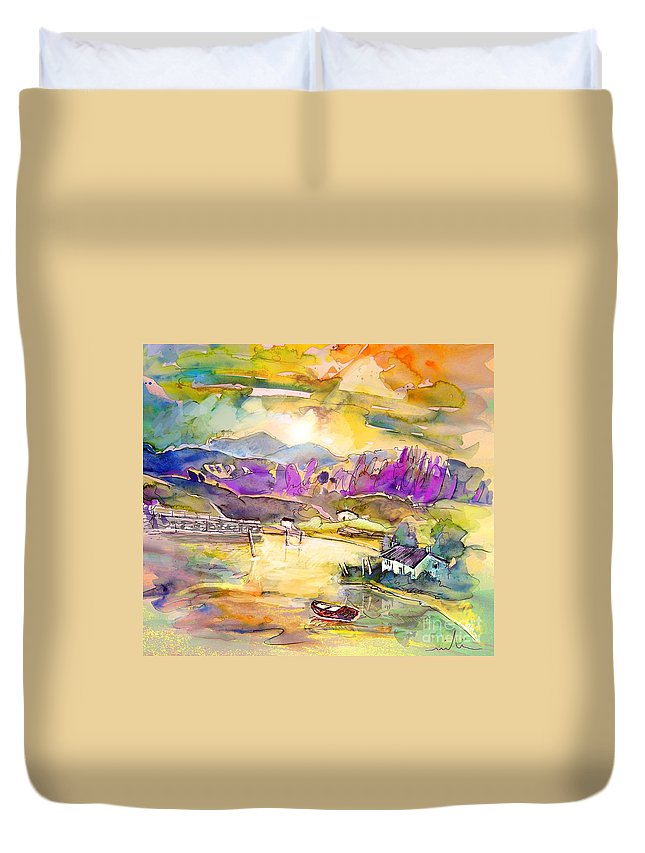 Scotland Duvet Cover featuring the painting Scotland 19 by Miki De Goodaboom
