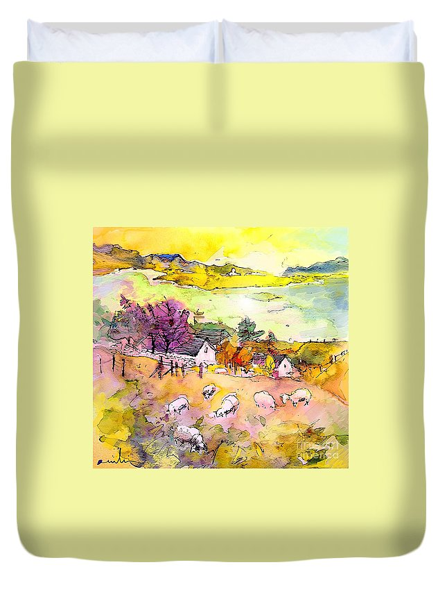 Scotland Duvet Cover featuring the painting Scotland 20 by Miki De Goodaboom