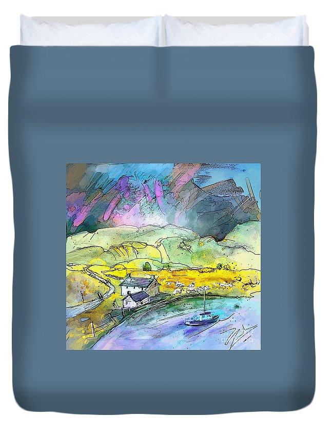 Scotland Duvet Cover featuring the painting Scotland 21 by Miki De Goodaboom