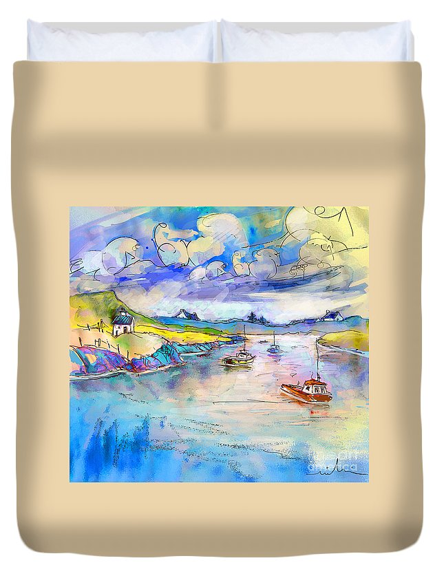 Scotland Duvet Cover featuring the painting Scotland 26 by Miki De Goodaboom