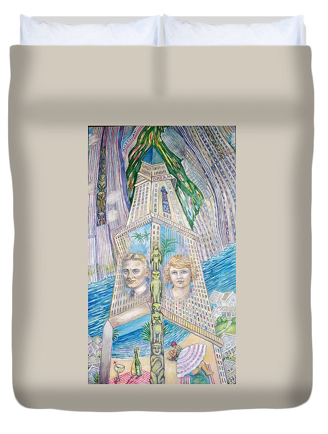 New York Fantasy Duvet Cover featuring the painting Scott And Zelda In Their New York Dream Tower by Patricia Buckley