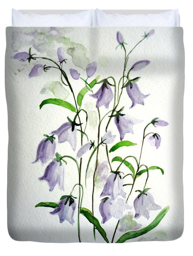 Blue Bells Hare Bells Purple Flower Flora Duvet Cover featuring the painting Scottish Blue Bells by Karin Dawn Kelshall- Best