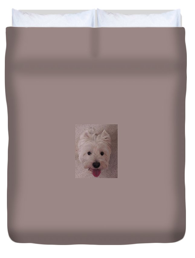 Dogs Duvet Cover featuring the photograph Scottish Smile by Traci Hallstrom
