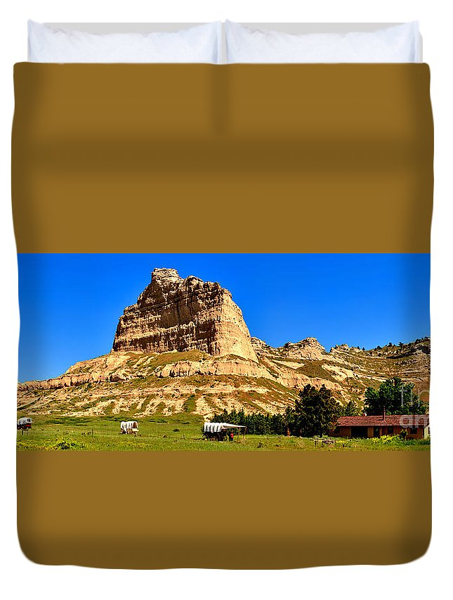 Scotts Bluff Duvet Cover featuring the photograph Scotts Bluff National Panoramic Landscape by Adam Jewell