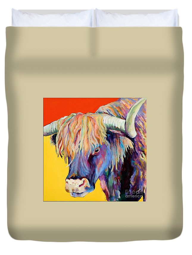Farm Animal Duvet Cover featuring the painting Scotty by Pat Saunders-White