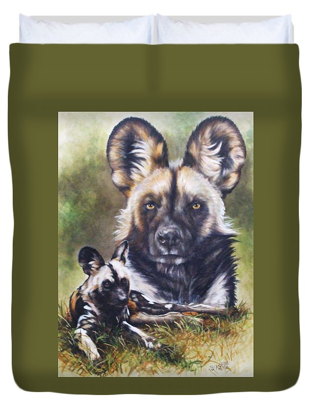 Wild Dogs Duvet Cover featuring the mixed media Scoundrel by Barbara Keith
