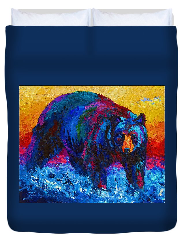 Western Duvet Cover featuring the painting Scouting For Fish - Black Bear by Marion Rose
