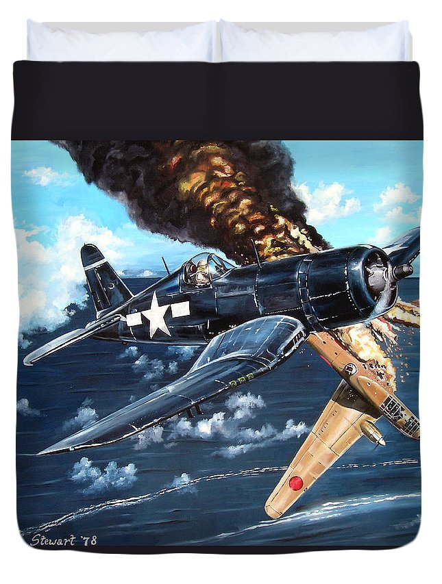Military Duvet Cover featuring the painting Scratch One Betty by Marc Stewart